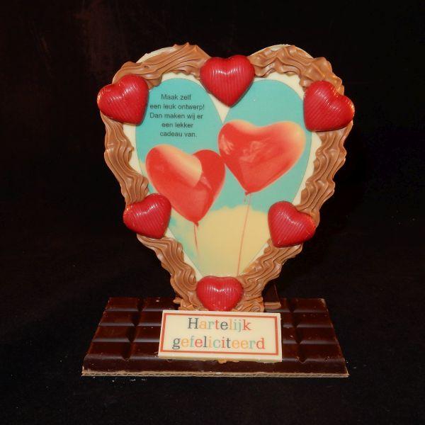 Chocolade fotolijst in hartvorm met uw eigen foto (verticaal)