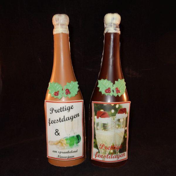 Kerst champagnefles naar eigen ontwerp